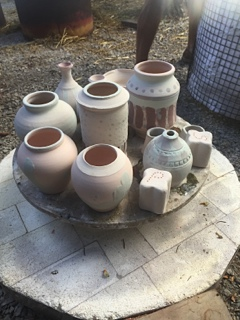 Krouse, Raku kiln loaded with glazed pots