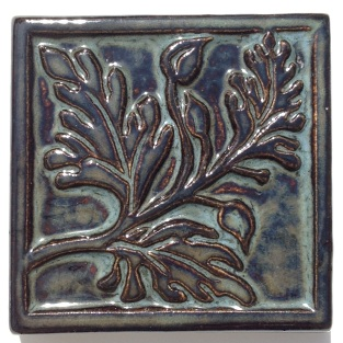 Cohen, Image 11, Poppy Leaf Relief Tile, 3_ w x 3_L x 5_8_ H, Tile clay, Hand pressed