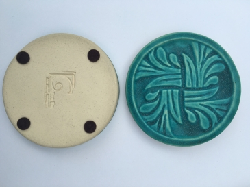 "Cohen, Image 8, Pinwheel Relief Coaster Tile, 3 1_2"" D x 5_8_ H, Tile clay, Hand pressed"