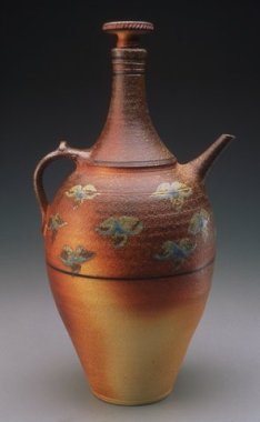 Large Screw Top Bottle, 22_H x 9_W x 9_L , Stoneware, Ash Glazed