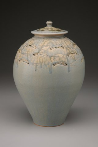 Heerspink and Porter, Larged Lidded Jar, Ash Glazed