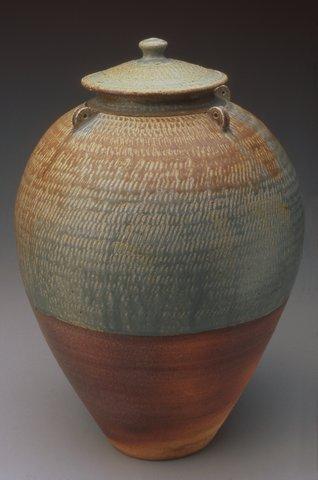 Lidded Jar, 13.5_H x 9_W x 9_L , Stoneware, Ash Glazed