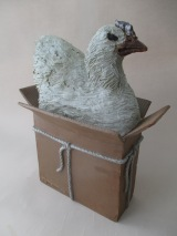 Chicken in Box, 17 x 10 x 8 in., Stoneware