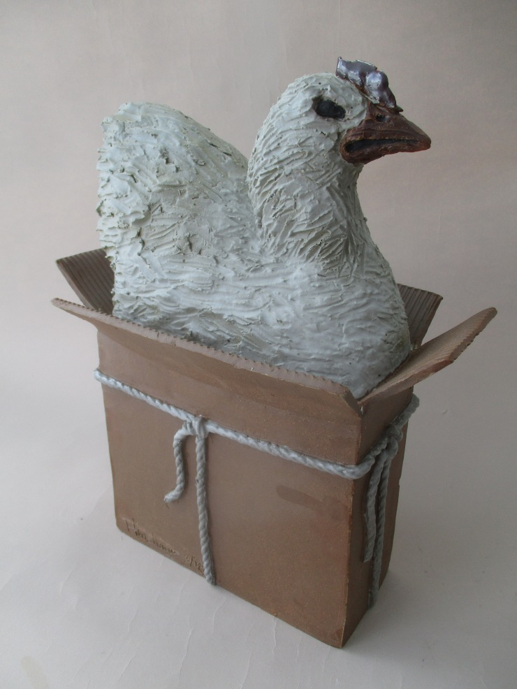 Hinshaw, Image 2, Chicken in Box, 17 x 10 x 8 in., Stoneware