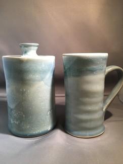 Hsu, Jar _ Mug, Jar_ 6.5_H_4_W_4_L, White Stoneware, gas fired Mug_ 5.5_H_5.5_W_5.5_L