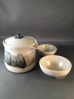 Hsu,Tea Pot _ 3.5_H_4_W_4_L, White Stoneware, gas fired Cup 2 _ 1_H_2.5_W_2.5L
