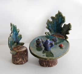 Kelley, image 2, fairy tea set, handbuilt stoneware