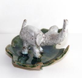 Kelley, Image 3, elephant ring dish, stoneware