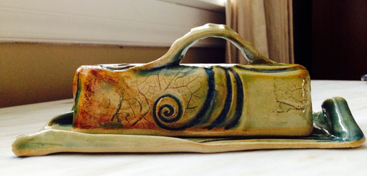 "Konkel, Image #3, Butter Dish, 8""L x 4""W x 3""H, Stoneware, cone6 oxidation fired"