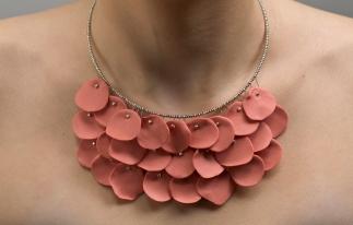 williams, brown, Image 2, rose fan necklace, 18_ length, porcelain