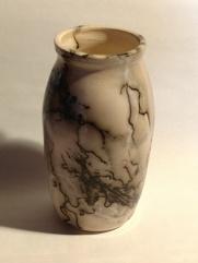 Wood, White Horse Hair Pot #1 7 1_2_ h x 3 1_2_ w White stoneware, burnished and raku fired