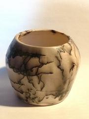 Wood, White Horse Hair Pot #2 5_ h x 6 1_2_ w White stoneware, burnished and raku fired