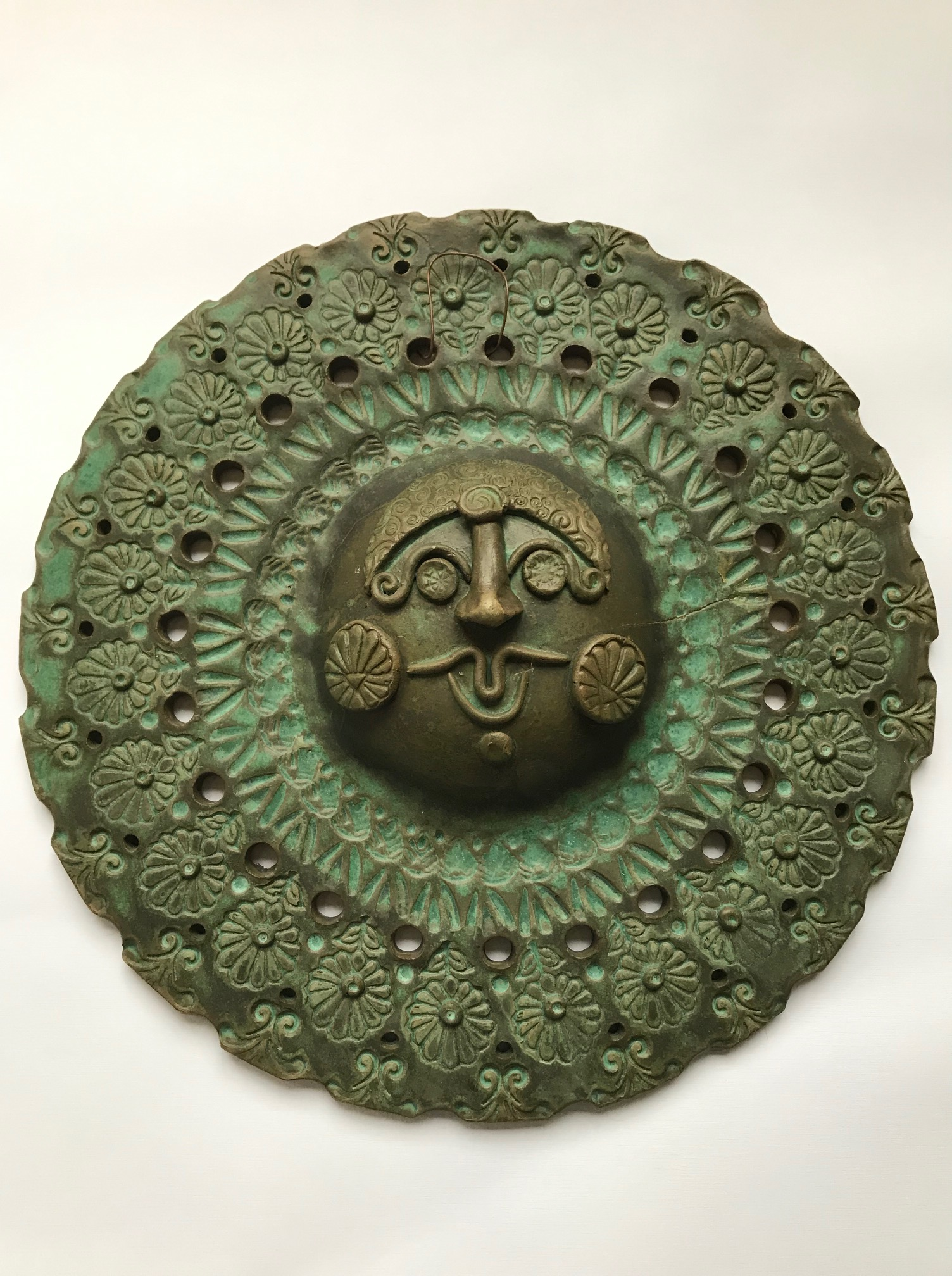 Frey, Weathered Sun, 13x13x2 in. - clay - Handbuilt