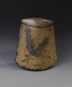 Sandhill Crane covered jar back