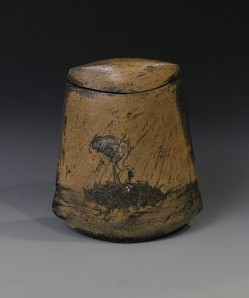 Sandhill Crane covered jar front
